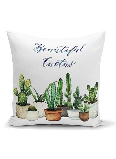 Real Homes Beatiful Cactus Baskılı Dijital Yastık Kırlent Kılıfı Renkli